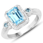 2.11 Carat Genuine Swiss Blue Topaz .925 Sterling Silver Ring