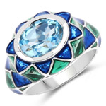 3.25 Carat Genuine Swiss Blue Topaz .925 Sterling Silver Ring