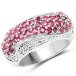 1.81 Carat Genuine Ruby and White Zircon .925 Sterling Silver Ring