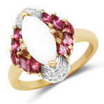 14K Yellow Gold Plated 1.90 Carat Genuine Opal and Rhodolite .925 Sterling Silver Ring