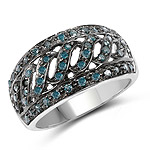 0.60 Carat Genuine Blue Diamond .925 Sterling Silver Ring
