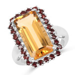 8.35 Carat Genuine Citrine and Garnet .925 Sterling Silver Ring