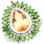 7.02 Carat Genuine Citrine and Chrome Diopside .925 Sterling Silver Ring