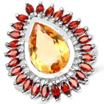 8.32 Carat Genuine Citrine and Garnet .925 Sterling Silver Ring