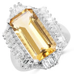 9.13 Carat Genuine Citrine and White Topaz .925 Sterling Silver Ring