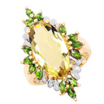 14K Yellow Gold Plated 6.32 Carat Genuine Lemon Quartz and Chrome Diopside .925 Sterling Silver Ring