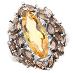 6.20 Carat Genuine Citrine and Smoky Quartz .925 Sterling Silver Ring