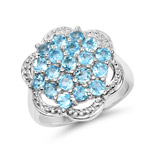 1.90 Carat Genuine Swiss Blue Topaz .925 Sterling Silver Ring
