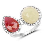 8.86 Carat Genuine Pink Sapphire and Sapphire White .925 Sterling Silver Ring