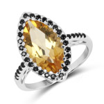 2.59 Carat Genuine Citrine and Black Spinel .925 Sterling Silver Ring