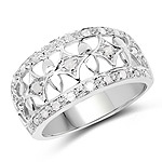 0.32 Carat Genuine White Diamond .925 Sterling Silver Ring