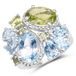 8.05 Carat Genuine Peridot and Blue Topaz .925 Sterling Silver Ring