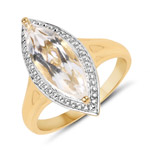 14K Yellow Gold Plated 2.90 Carat Genuine Crystal Quartz .925 Sterling Silver Ring