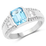 2.44 Carat Genuine Swiss Blue Topaz and White Topaz .925 Sterling Silver Ring