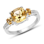 2.43 Carat Genuine Citrine and White Topaz .925 Sterling Silver Ring