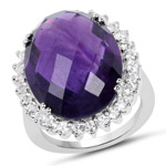 15.52 Carat Genuine Amethyst and White Topaz .925 Sterling Silver Ring