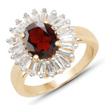 18K Yellow Gold Plated 2.27 Carat Genuine Garnet and White Topaz .925 Sterling Silver Ring