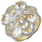 14K Yellow Gold Plated 6.69 Carat Genuine Crystal Quartz & White Diamond .925 Sterling Silver Ring