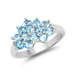 1.32 Carat Genuine Swiss Blue Topaz and White Topaz .925 Sterling Silver Ring
