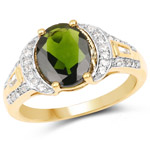 18K Yellow Gold Plated 2.79 Carat Genuine Chrome Diopside and White Topaz .925 Sterling Silver Ring