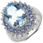 4.50 Carat Aquamarine Ring with 0.80 ct. t.w. Multi-Gems in Sterling Silver