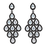 12.90 Carat Genuine Blue Topaz and Black Spinel .925 Sterling Silver Earrings