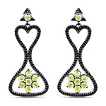 6.93 Carat Genuine Peridot and Black Spinel .925 Sterling Silver Earrings