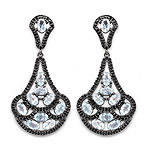 12.19 Carat Genuine Blue Topaz and Black Spinel .925 Sterling Silver Earrings