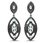 8.80 Carat Genuine Blue Topaz and Black Spinel .925 Sterling Silver Earrings