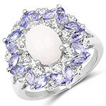 3.61 Carat Genuine Opal, Tanzanite and White Topaz .925 Sterling Silver Ring