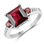 3.37 Carat Genuine Rhodolite and White Topaz .925 Sterling Silver Ring