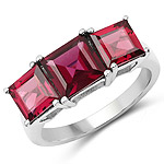 4.87 Carat Genuine Rhodolite .925 Sterling Silver Ring