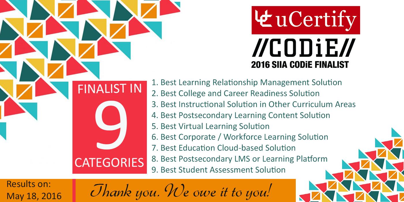 uCertify finalist in 9 categories