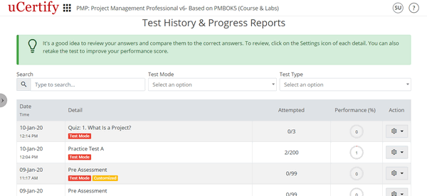 The figure is showing Test History and Progress Reports page.