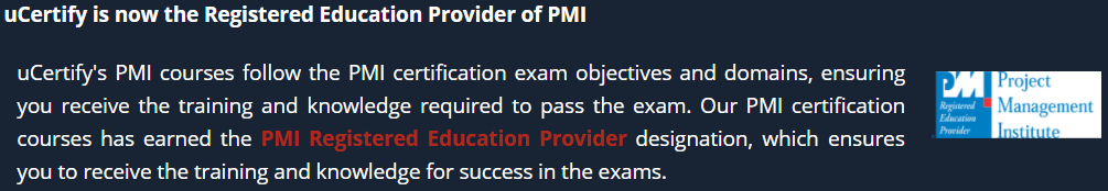 uCertify has now become the Registered Education Provider of PMI