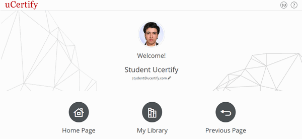 The figure is showing the uCertify Welcome Page with three buttons: Home Page, My Library, and Previous Page.