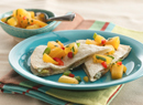 Blue Cheese Quesadillas with Peach Salsa