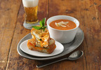 Muir Glen Creamy Tomato Soup with Grilled Cheddar-Basil Sandwiches