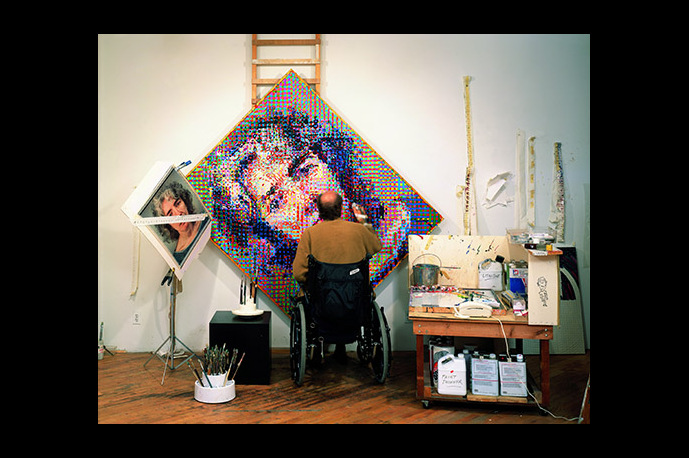 Chuck Close Photo Maquettes on display at Eykyn Maclean Gallery