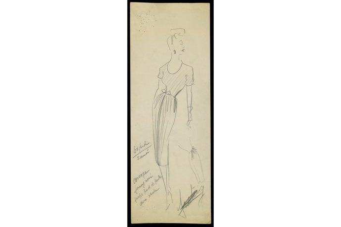 Sketch by Christian Dior for model Oxford, Spring-Summer 1947 Haute Couture collection © Christian Dior
