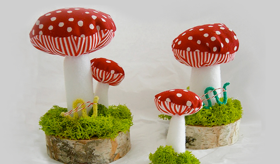 Plush Mushrooms with Dapper Inchworms
