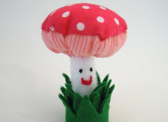 Happy Pink Plush Mushroom
