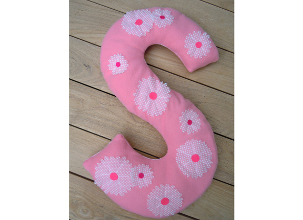 Monogram pillow with flowers