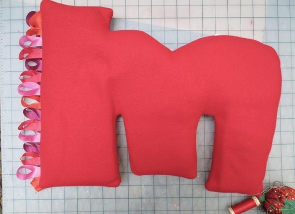 Custom Monogram Pillow with Ribbons