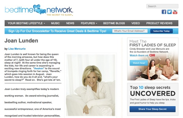 Bedtime network with joan lunden