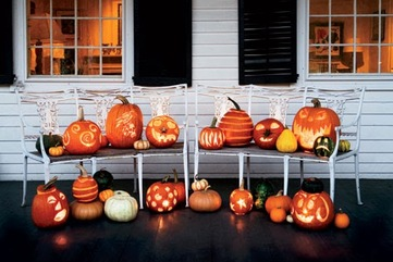 Assorted pumpkins carved halloween 1007 lgn