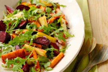 Roasted root vegetable salad with white wine vinaigrette