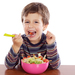 Child eating healthy food kids salad children boy