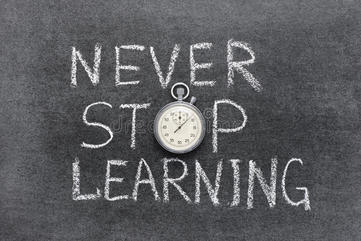 Never stop learning phrase handwritten chalkboard vintage precise stopwatch used o 54240133