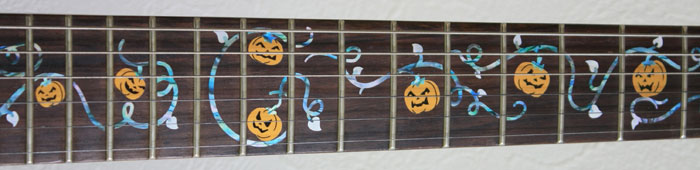 halloween pumpkins inlay guitar